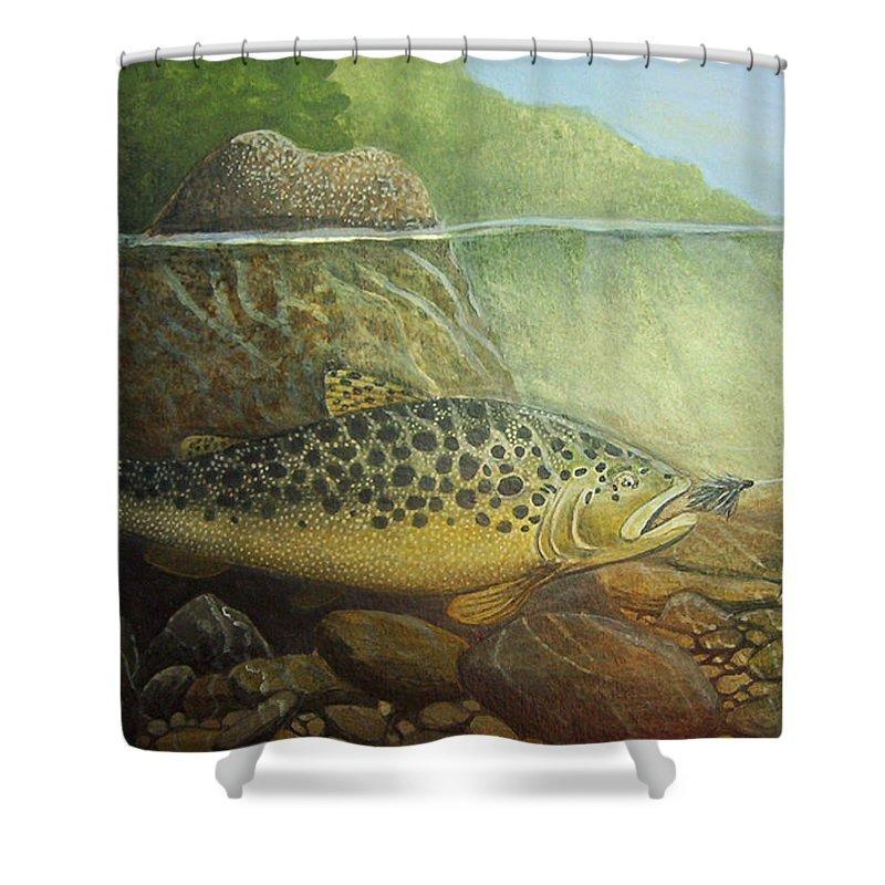 Rick Huotari Shower Curtain featuring the painting Lurking by Rick Huotari