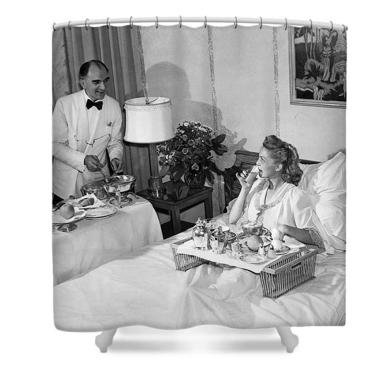 1940s Shower Curtain featuring the photograph Luxurious Room Service by Underwood Archives