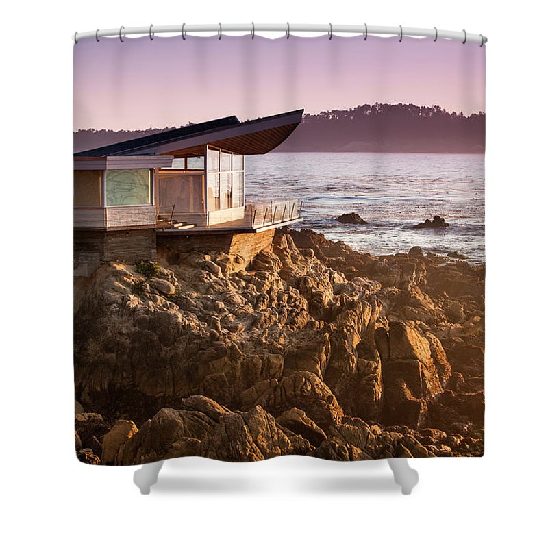 Water's Edge Shower Curtain featuring the photograph Luxury Home Overlooks The Big Sur by Pgiam
