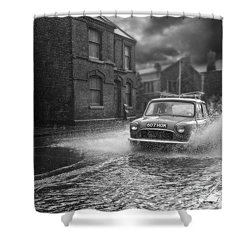 Hart Photography Shower Curtain featuring the photograph Lye Rain Storm, Morris Mini Car - 1960's  Ref-246 by William R Hart
