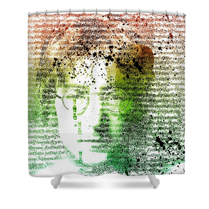 Abstract Realism Shower Curtain featuring the mixed media Lyrical Memories by Georgiana Romanovna
