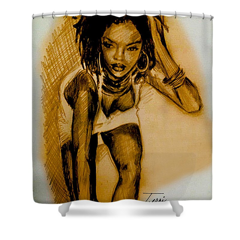 Lauryn Shower Curtain featuring the drawing Lyricist by Terri Meredith