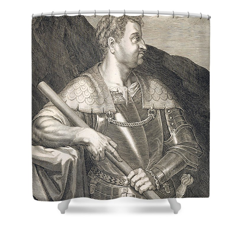 Titian Shower Curtain featuring the painting M Silvius Otho Emperor Of Rome by Titian