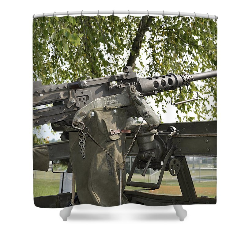 Military Shower Curtain Featuring The Photograph M2 Browning By Paul Mashburn