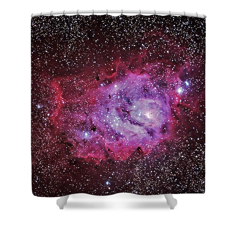 Majestic Shower Curtain featuring the photograph M8--the Lagoon Nebula by A. V. Ley