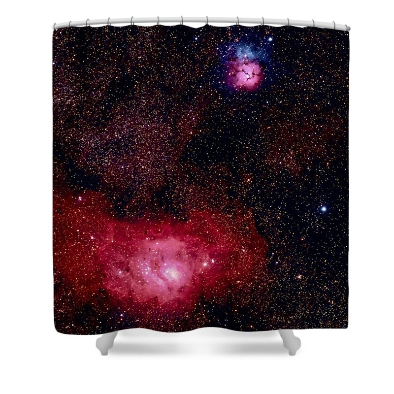New Mexico Shower Curtain featuring the photograph M8 The Lagoon Nebula And M20 The Trifid by A. V. Ley