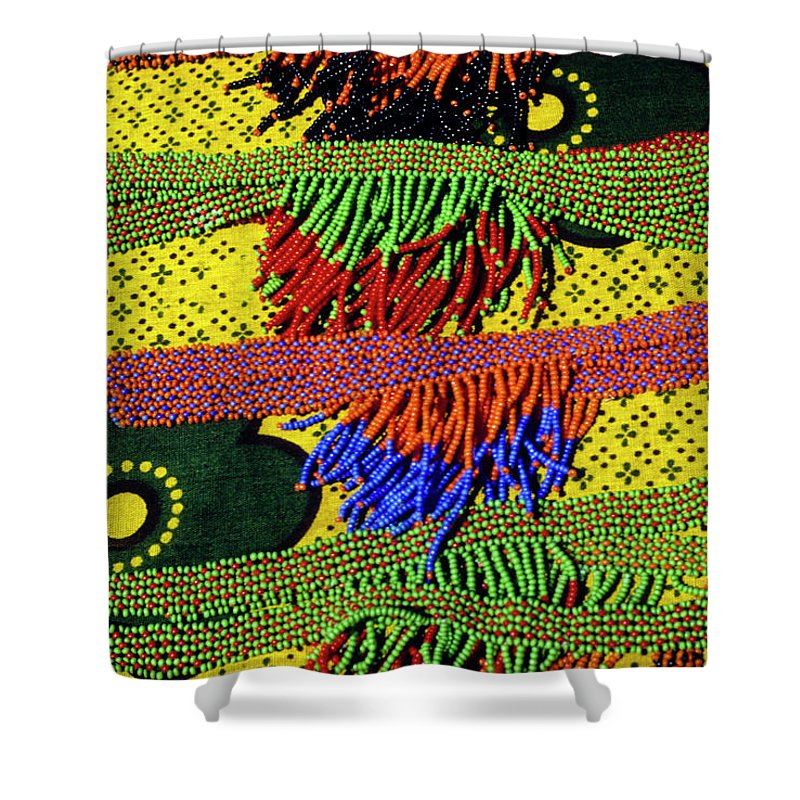 Africa Shower Curtain featuring the photograph Maasai Beadwork by Michele Burgess