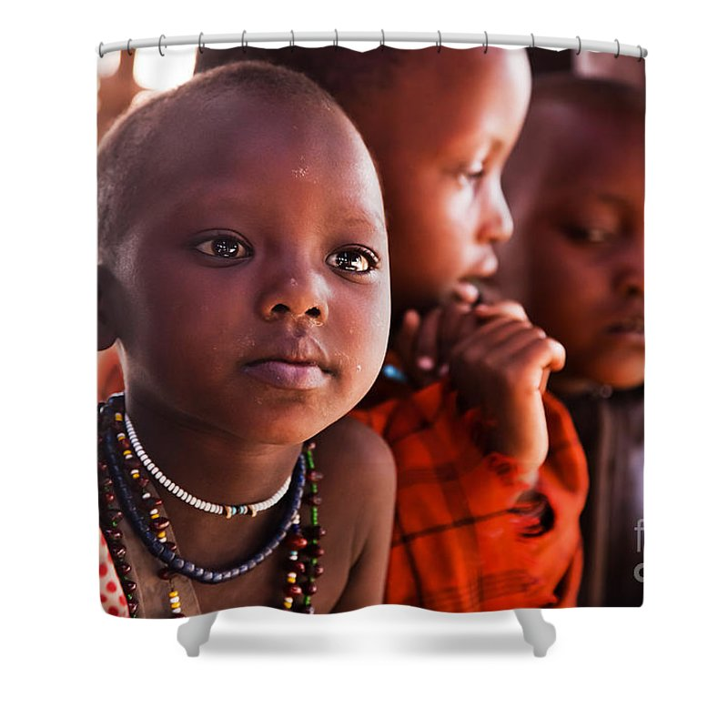 Africa Shower Curtain featuring the photograph Maasai Children In School In Tanzania by Michal Bednarek