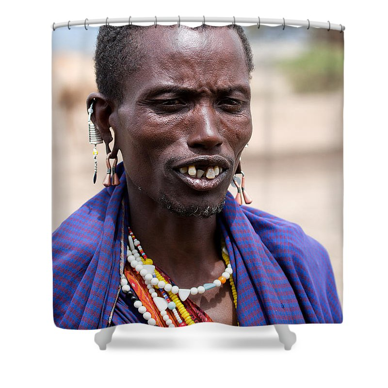 Africa Shower Curtain featuring the photograph Maasai Man Portrait In Tanzania by Michal Bednarek