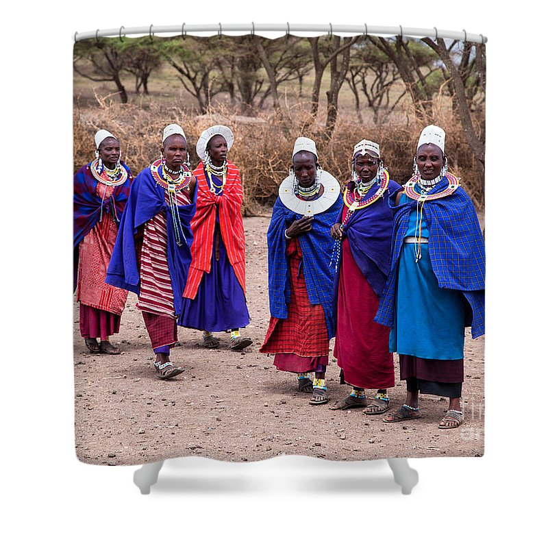 Village Shower Curtain featuring the photograph Maasai Women In Front Of Their Village In Tanzania by Michal Bednarek