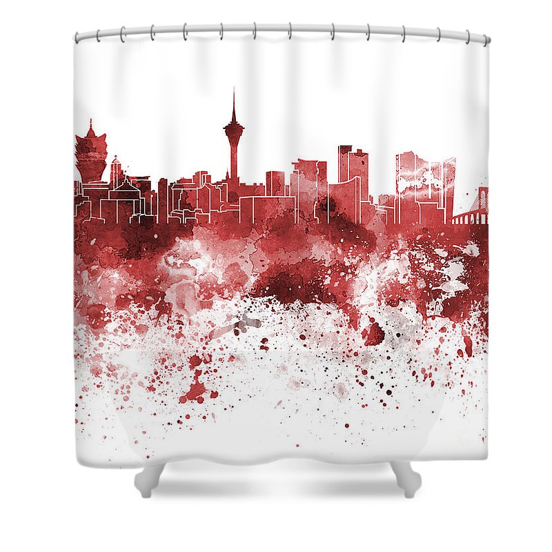 Macau Skyline; Macau; China; Asia; Skyline; Watercolor; Background; Abstract; Paint; Color; Splash; Colorful; Art; Texture; Grunge; Paper; Ink; Illustration; Bright; Vintage; Splatter; Creativity; Architecture; Cityscape; Landmark; Monuments; Panoramic Shower Curtain featuring the painting Macau Skyline In Red Watercolor On White Background by Pablo Romero