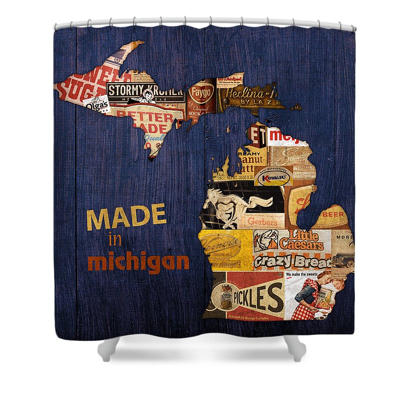 Made In Michigan Products Vintage Map On Wood Kelloggs Better Made Faygo Ford Chevy Gm Little Caesars Strohs Pioneer Sugar Lazy Boy Detroit Lansing Grand Rapids Flint Mustang Meijer Olgas Vernors Gerber Kowalski Sausage Corn Flakes Shower Curtain featuring the mixed media Made In Michigan Products Vintage Map On Wood by Design Turnpike