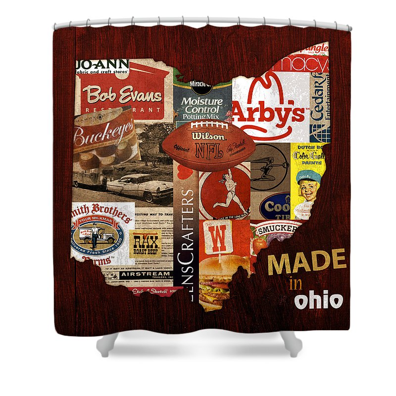 Made In Ohio Products Vintage Map On Wood. Shower Curtain featuring the mixed media Made In Ohio Products Vintage Map On Wood by Design Turnpike