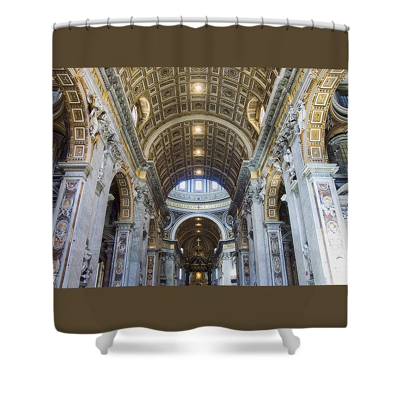 Madernos Nave Ceiling Shower Curtain featuring the photograph Maderno's Nave Ceiling by Ellen Henneke