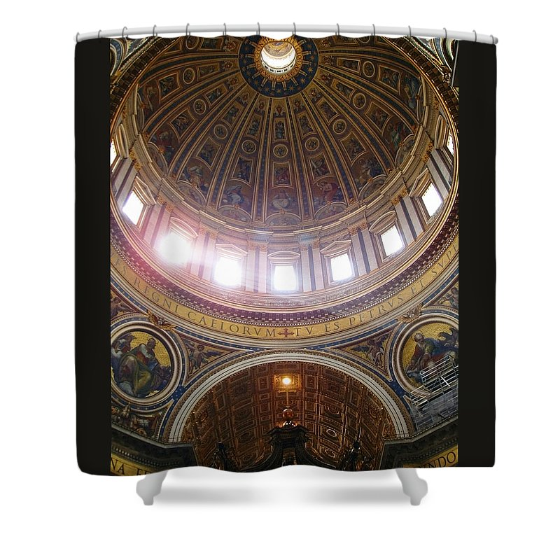 Madernos Nave Cupola Shower Curtain featuring the photograph Madernos Nave Cupola by Ellen Henneke