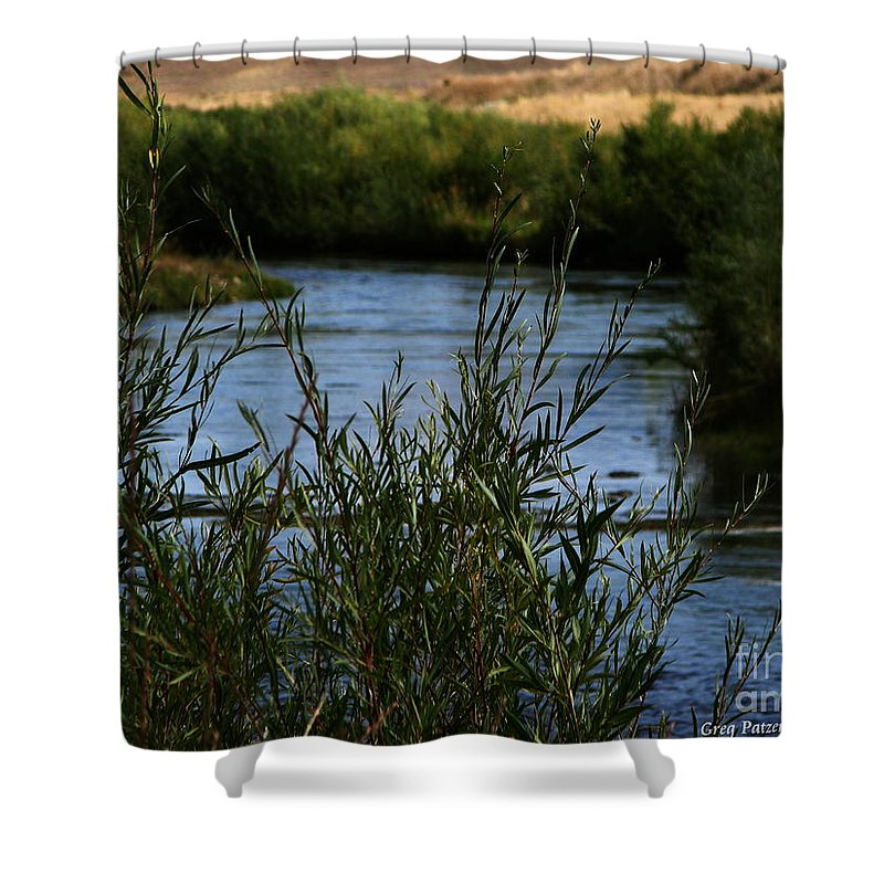 Madison River Shower Curtain featuring the photograph Madison River by Greg Patzer