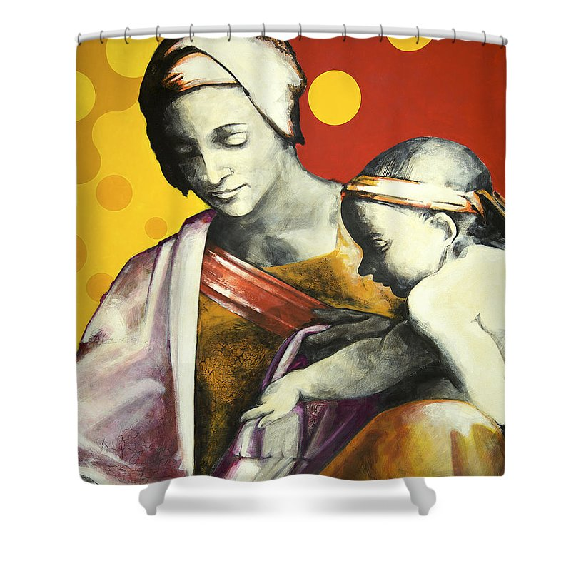Figurative Shower Curtain featuring the painting Madona by Jean Pierre Rousselet