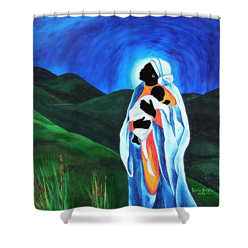 Female Shower Curtain featuring the painting Madonna And Child Hope For The World by Patricia Brintle