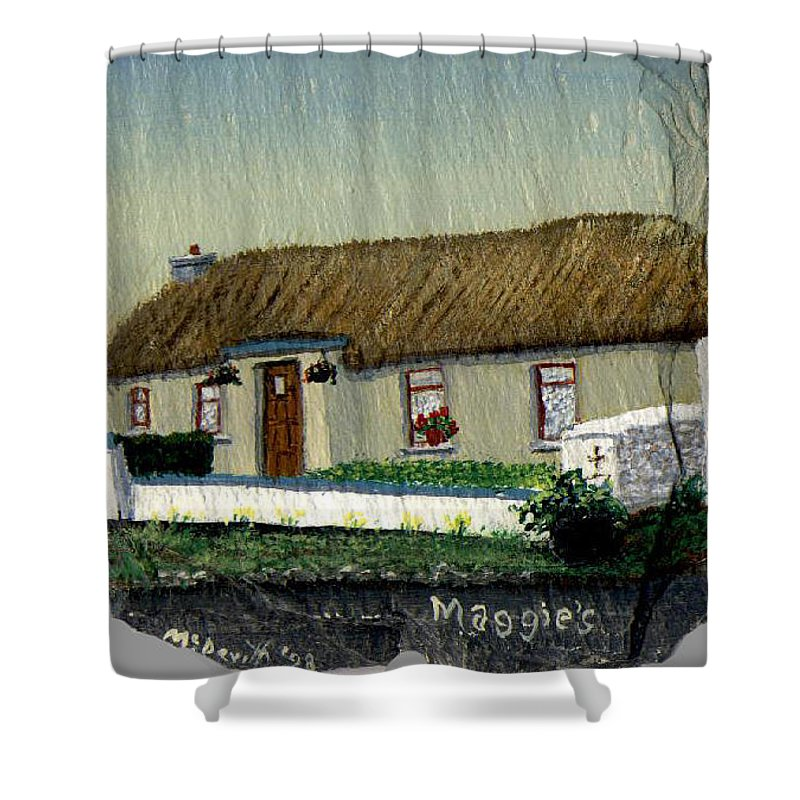 Thatched Cottage Shower Curtain featuring the painting Maggie's by Barbara McDevitt