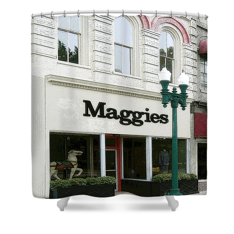 Windows On The Square Shower Curtain featuring the photograph Maggie's by Lee Owenby