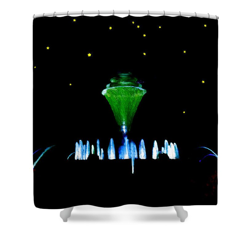 Water Shower Curtain featuring the painting Magical Fountain by Bruce Nutting