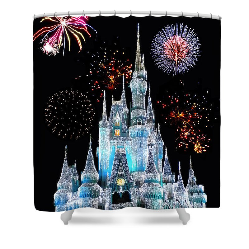 Castle Shower Curtain featuring the photograph Magic Kingdom Castle In Frosty Light Blue With Fireworks 06 by Thomas Woolworth