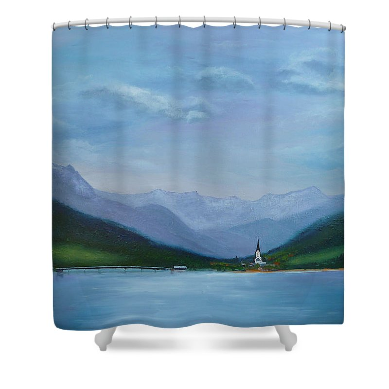 Weissensee Shower Curtain featuring the painting Magic Kingdom by Petra Stephens