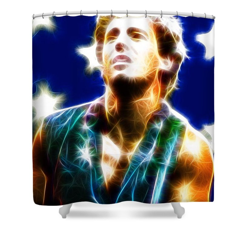 Music Shower Curtain featuring the painting Magical Boss by Paul Van Scott