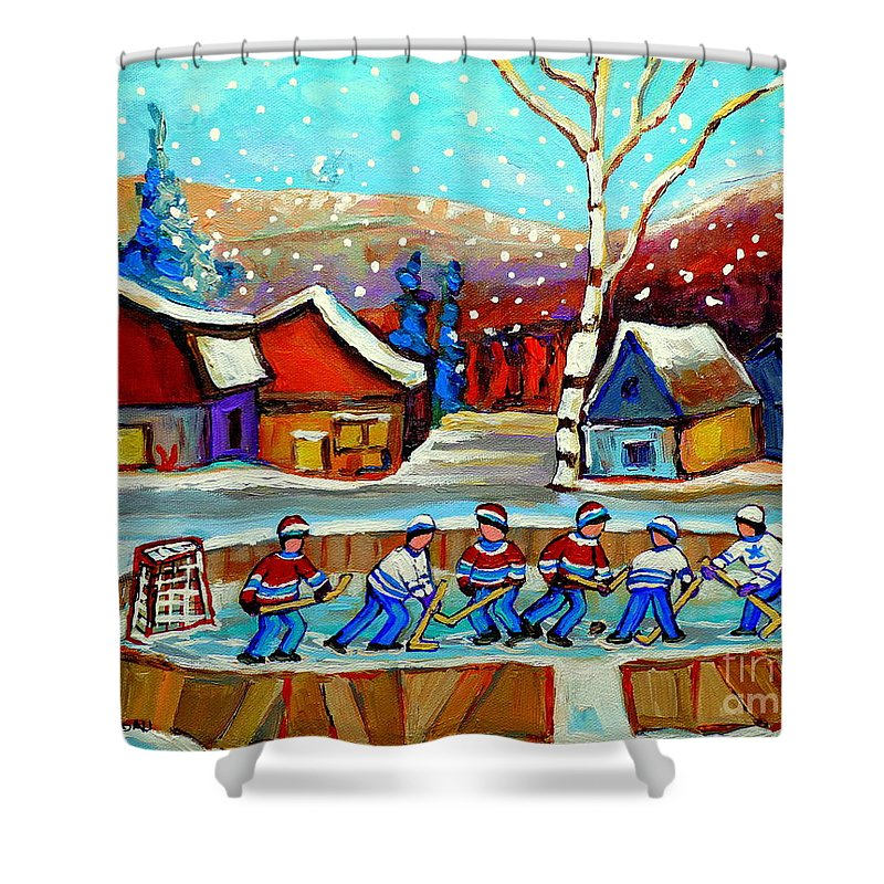 Pond Hockey Shower Curtain featuring the painting Magical Pond Hockey Memories Hockey Art Snow Falling Winter Fun Country Hockey Scenes Spandau Art by Carole Spandau