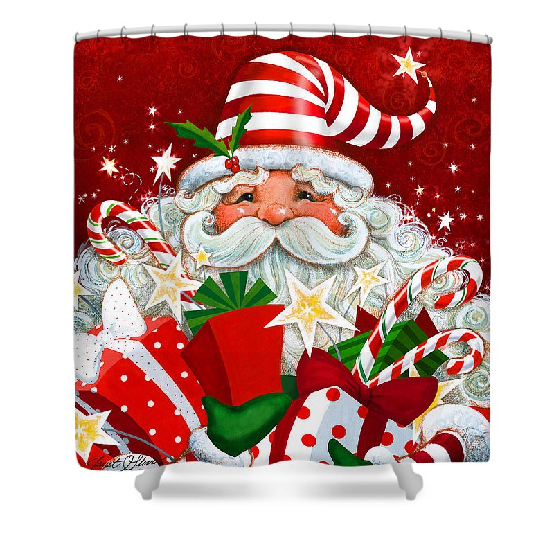 Janet Stever Shower Curtain Featuring The Painting Magical Santa By