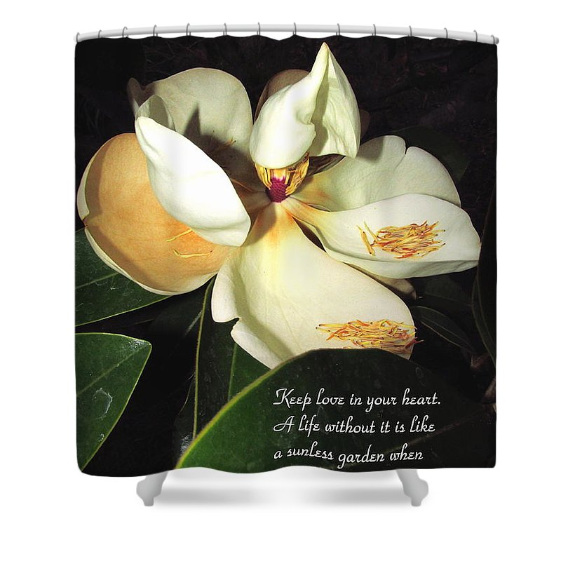 Magnolia Shower Curtain featuring the photograph Magnolia Blossom In All Its Glory - Keep Love In Your Heart by Joyce Dickens