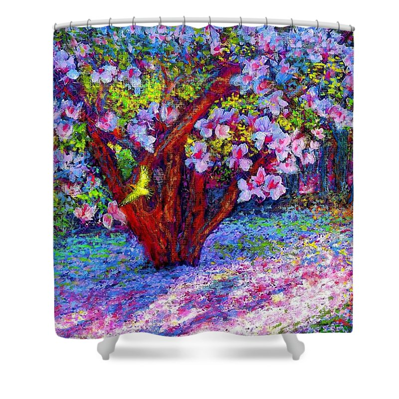 Sun Shower Curtain featuring the painting Magnolia Melody by Jane Small