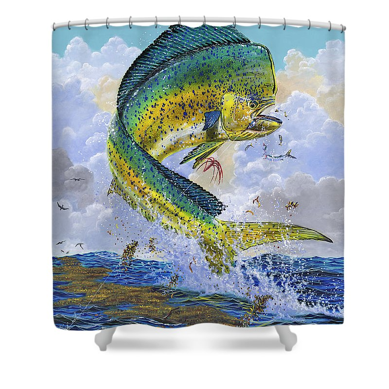 Dolphin Shower Curtain featuring the painting Mahi Hookup Off0020 by Carey Chen
