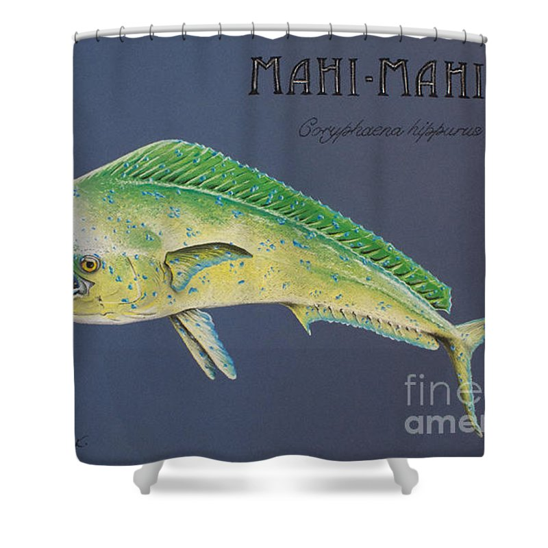 Mahi Mahi Shower Curtain featuring the pastel Mahi-mahi by Katharina Filus