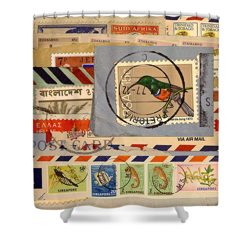Stamps Shower Curtains
