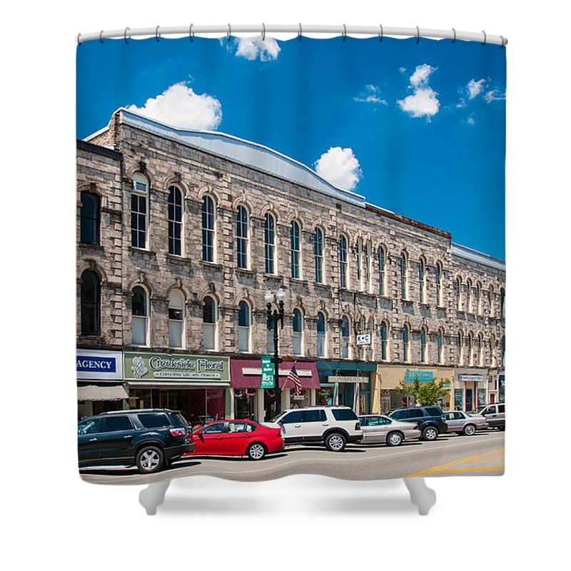 Buildings Shower Curtain featuring the photograph Main Street Usa by Guy Whiteley