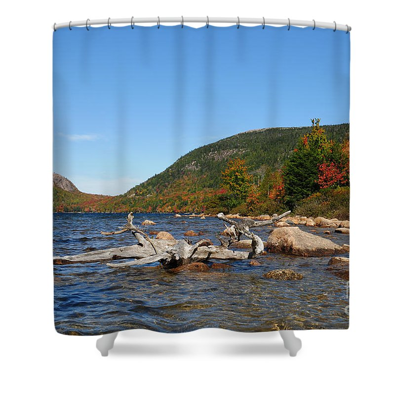 Fall Foliage Shower Curtain featuring the photograph maine 1 Acadia National Park Jordan Pond in Fall by Terri Winkler