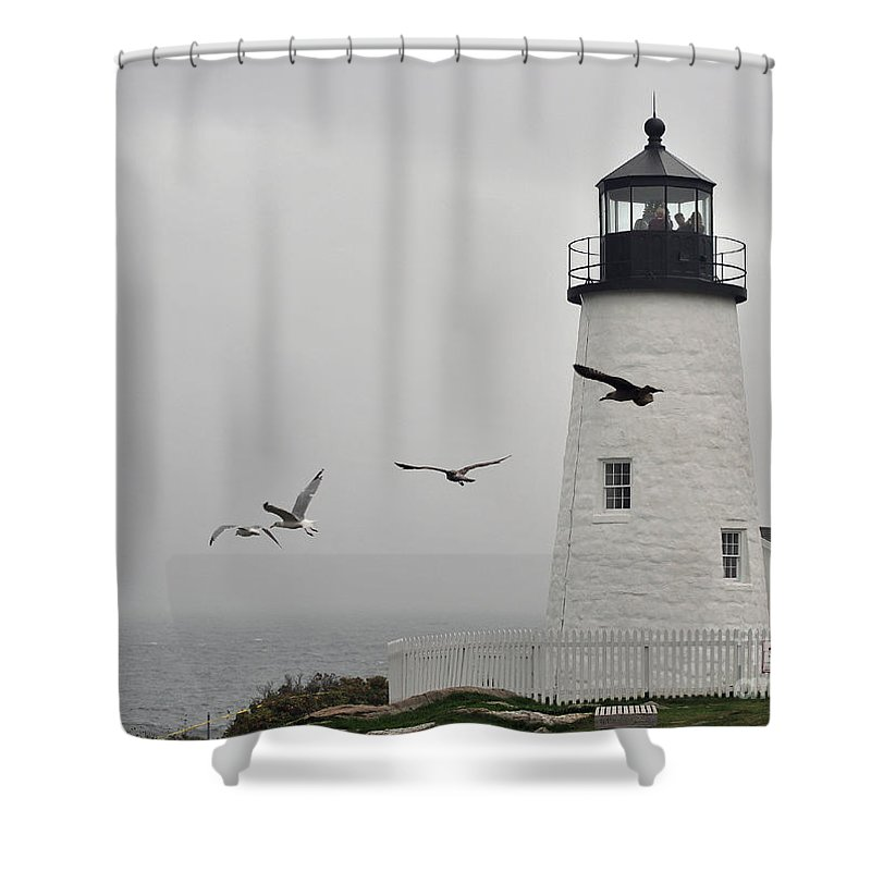 Lighthouse Shower Curtain featuring the photograph maine 11 Pemaquid Lighthouse Before Storm I by Terri Winkler