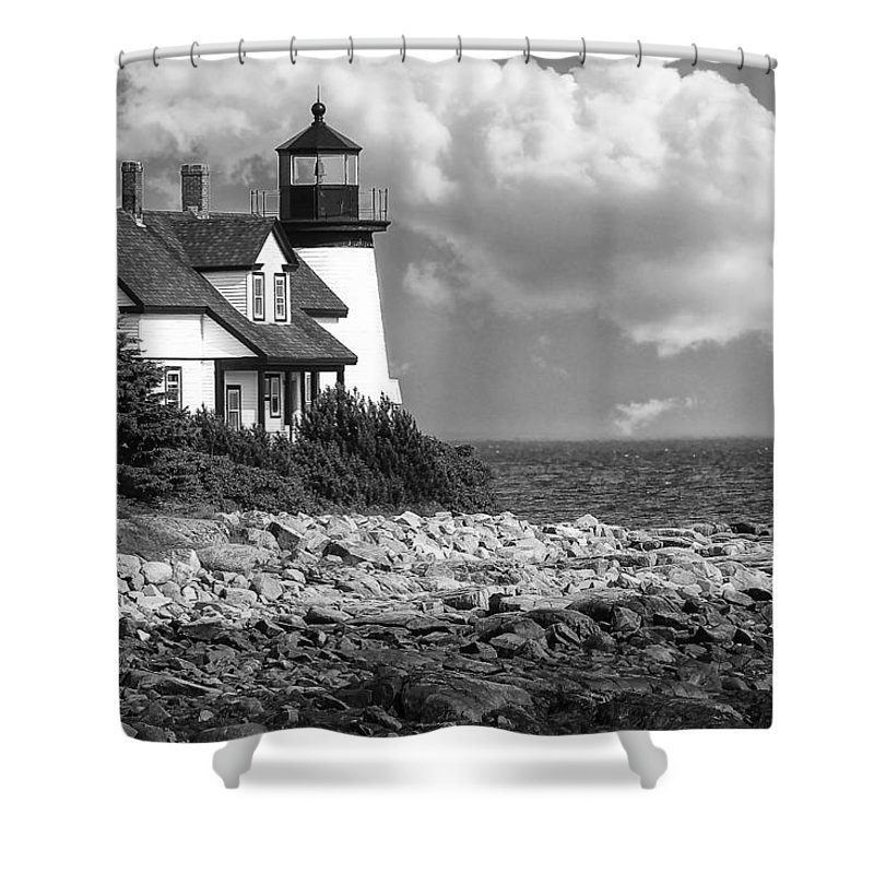 Maine Shower Curtain featuring the photograph Prospect Harbor Point Light ... Bw by Sharon Horn