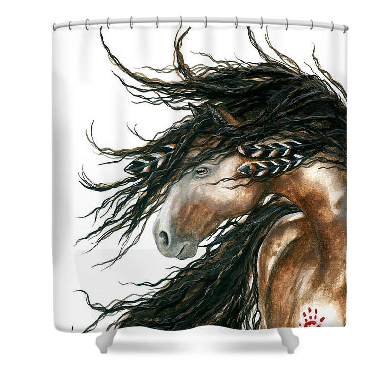 Horse Shower Curtain featuring the painting Majestic Pinto Horse 80 by AmyLyn Bihrle