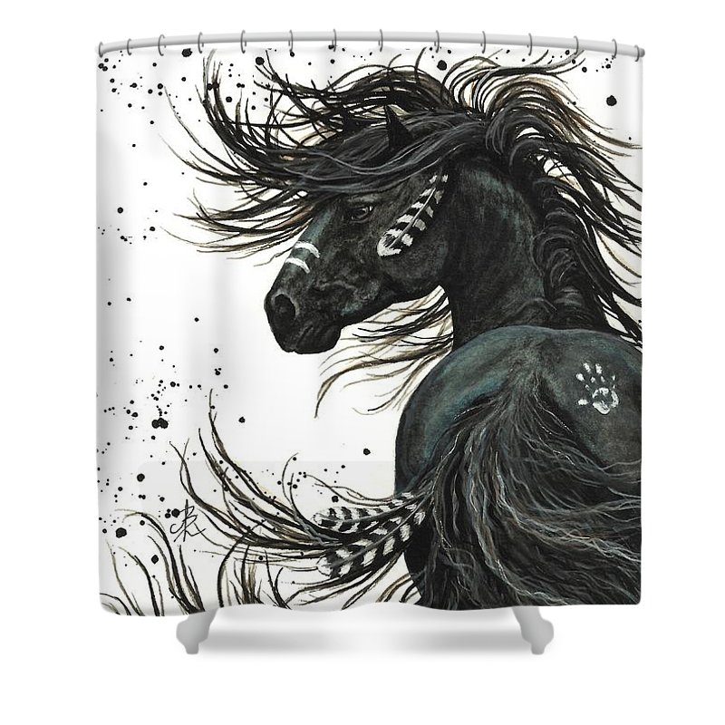 Mm65 Shower Curtain featuring the painting Majestic Spirit Horse I by AmyLyn Bihrle