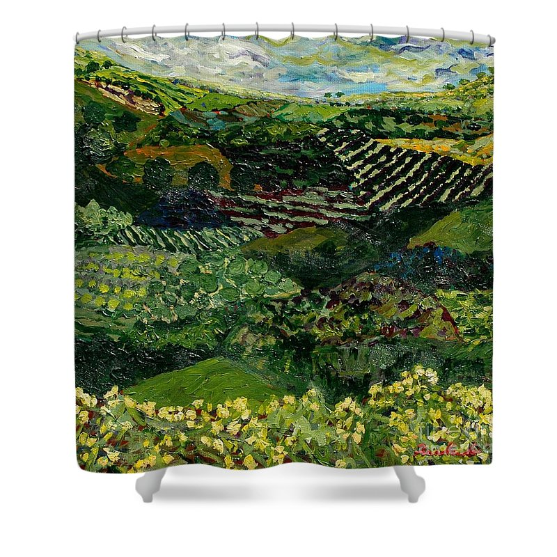 Landscape Shower Curtain featuring the painting Majestic Valley by Allan P Friedlander