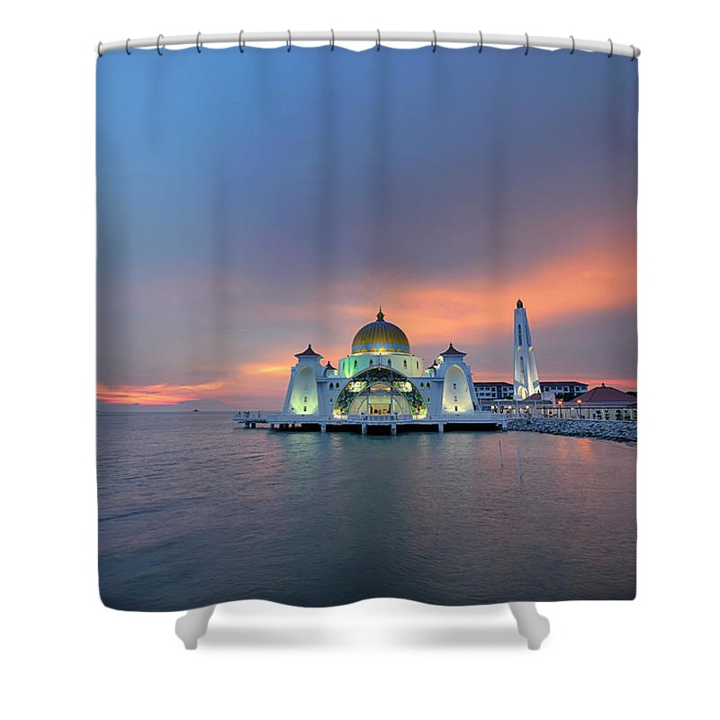 Mosque Shower Curtain featuring the photograph Malaysia - The Straits Mosque, Malacca by By Toonman
