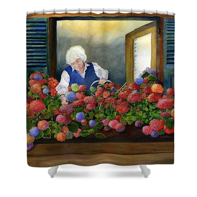 Window Shower Curtain featuring the painting Mama's Window Garden by Jane Ricker