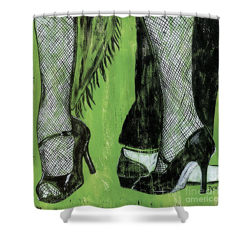 Dance Shower Curtain featuring the painting Mambo by Debbie DeWitt