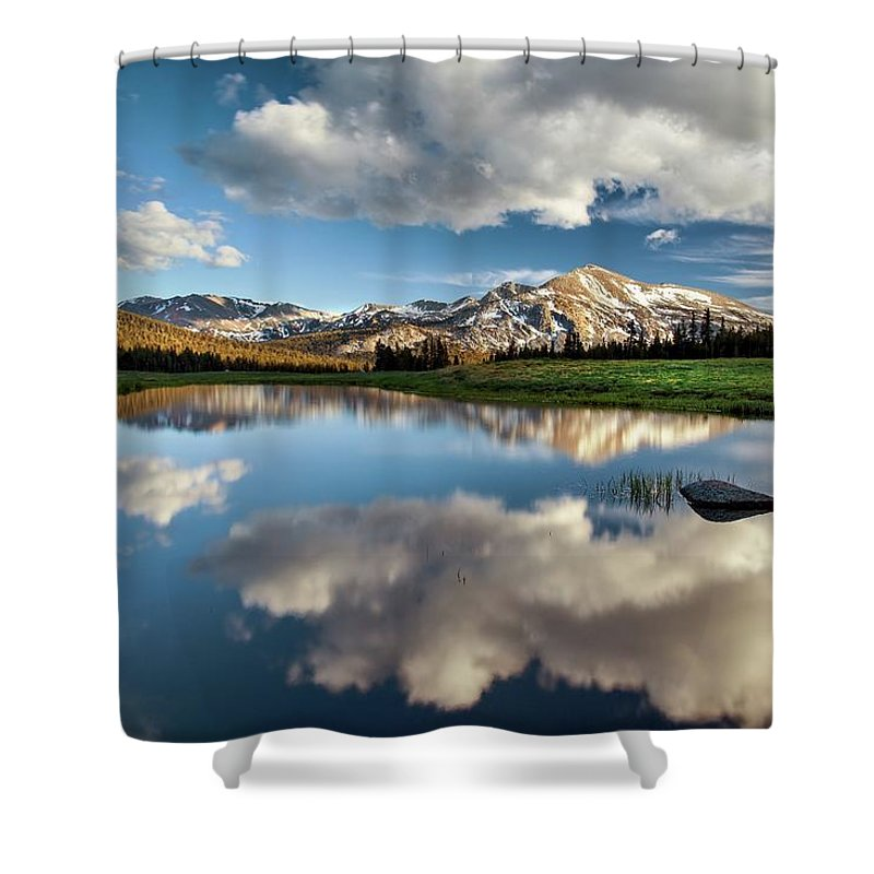 Scenics Shower Curtain featuring the photograph Mammoth Peak Reflection by Tom Grubbe