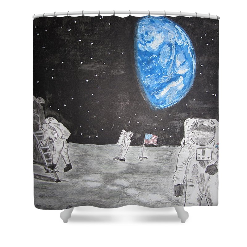 Stars Shower Curtain featuring the painting Man On The Moon by Kathy Marrs Chandler