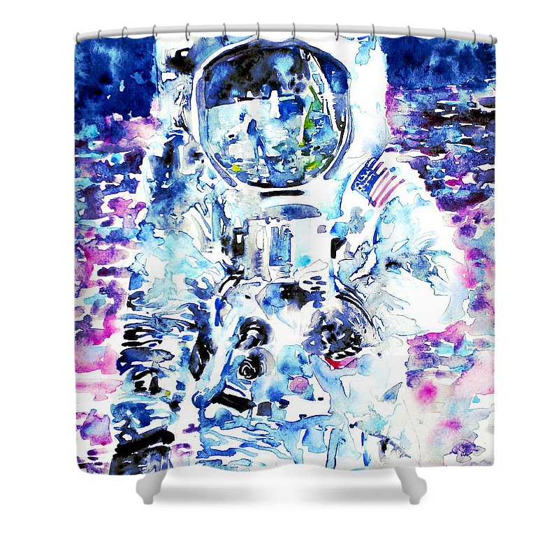 Astronaut Shower Curtain featuring the painting Man On The Moon - Watercolor Portrait by Fabrizio Cassetta