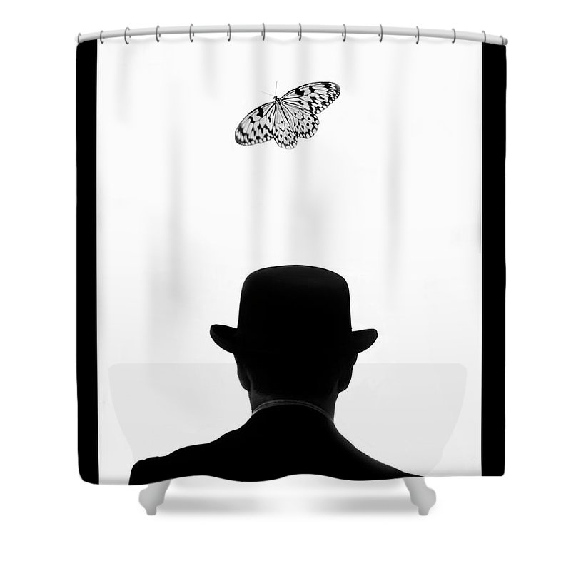 Mature Adult Shower Curtain featuring the photograph Man Standing Under Butterfly by Grant Faint