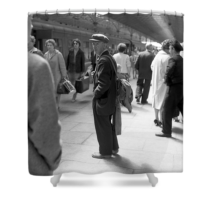 Train Station Shower Curtain featuring the photograph Man Waits In Heuston Station Dublin by Irish Photo Archive